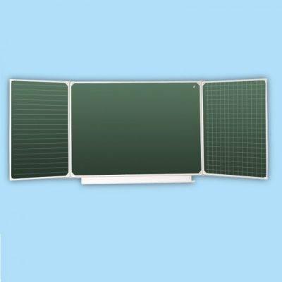 Доска школьная трех элементная зеленая