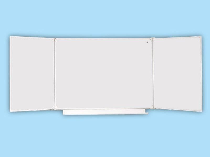 Доска школьная трехэлементная маркерная белая