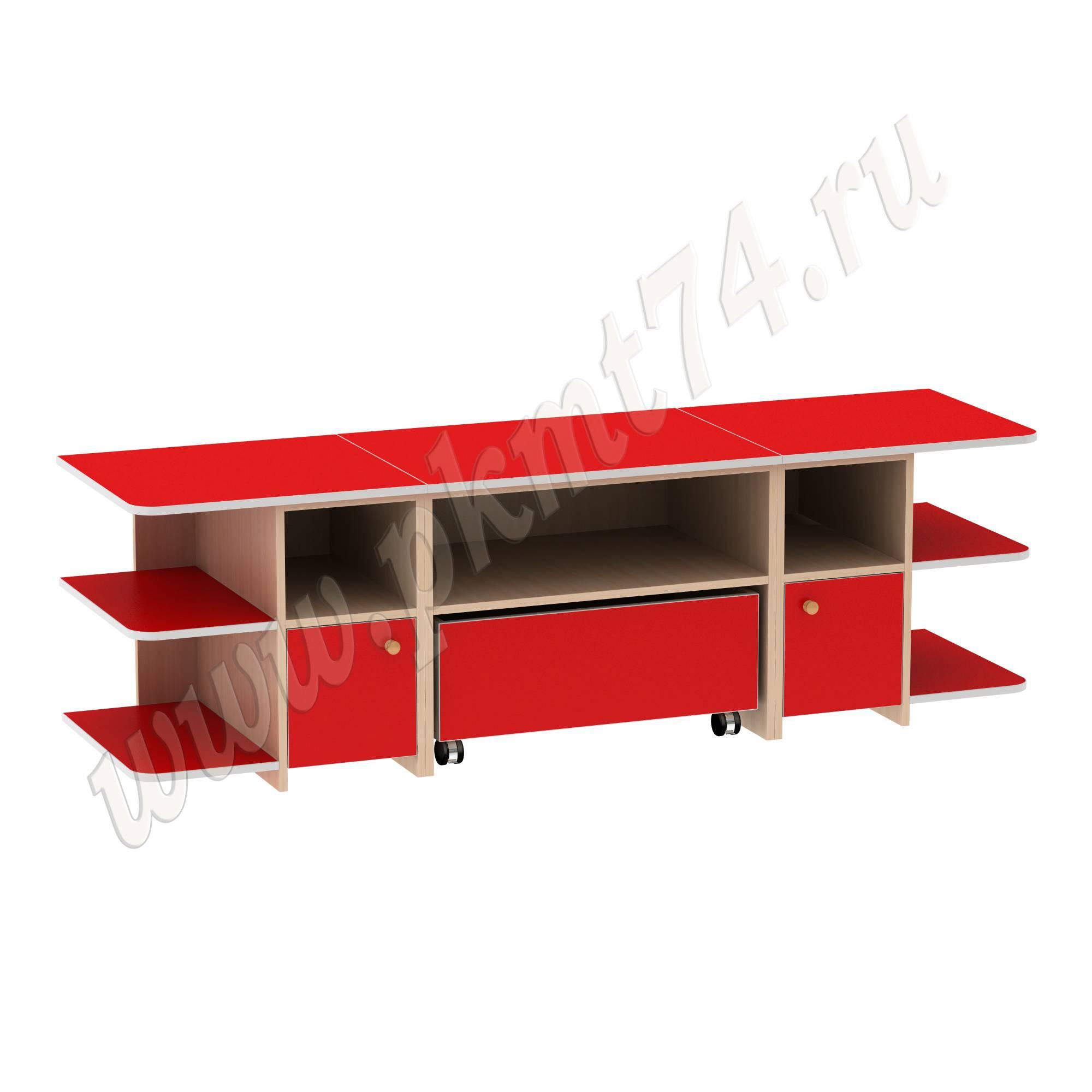 Игровой детский стол с полками для игрушек МТ 17-47 ДубМол+Крас