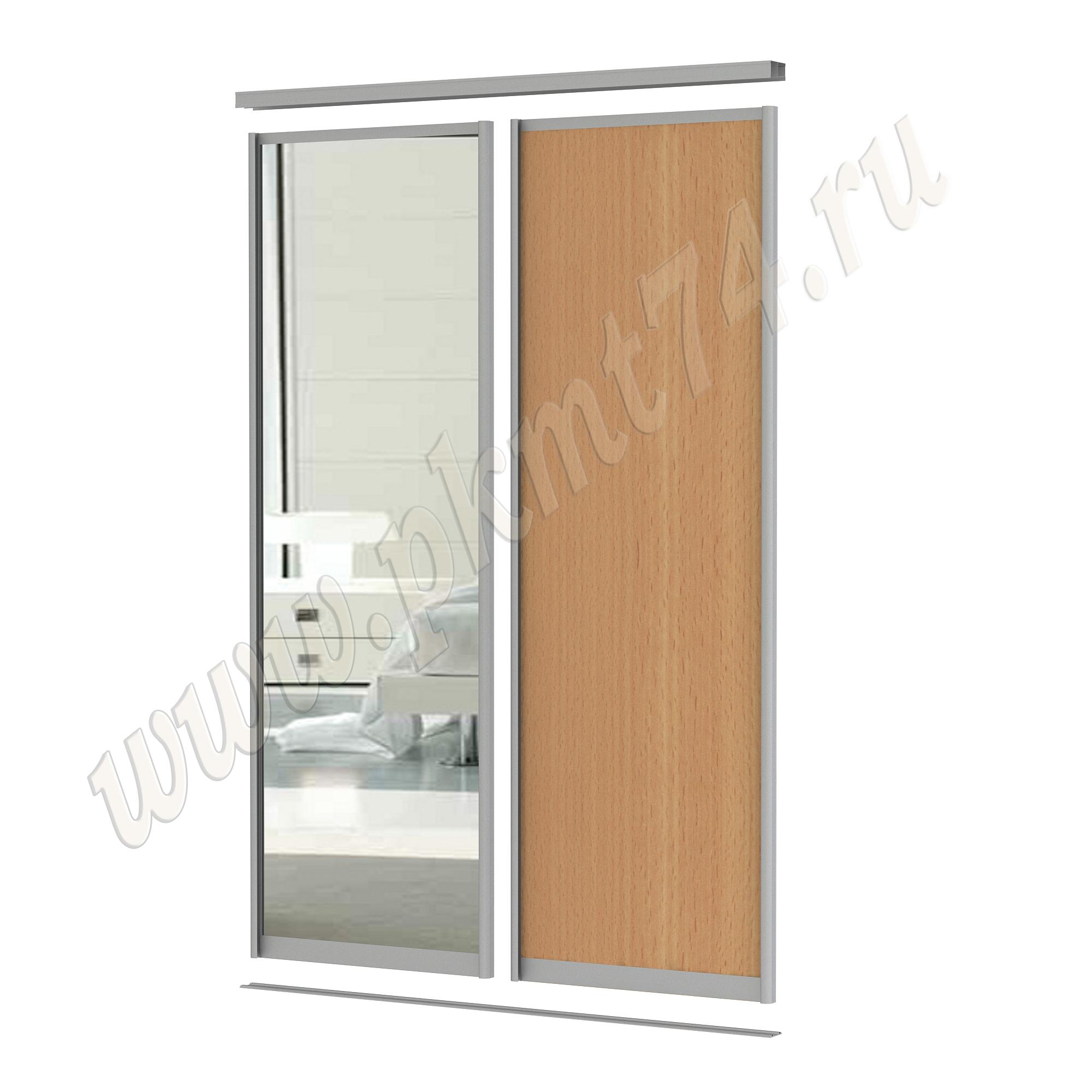 Комбинированные двери для шкафа купе [Размер:: 1700х2500; Цвет ЛДСП:: бук Бавария светлый]