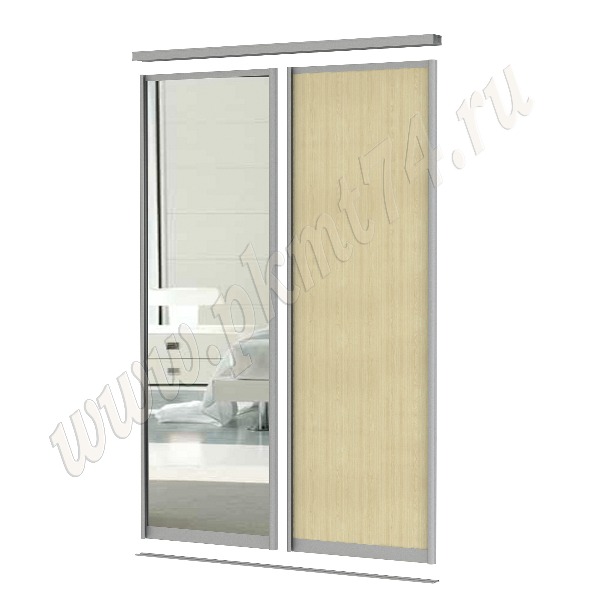 Комбинированные двери для шкафа купе [Размер:: 1500х2500; Цвет ЛДСП:: Клён]