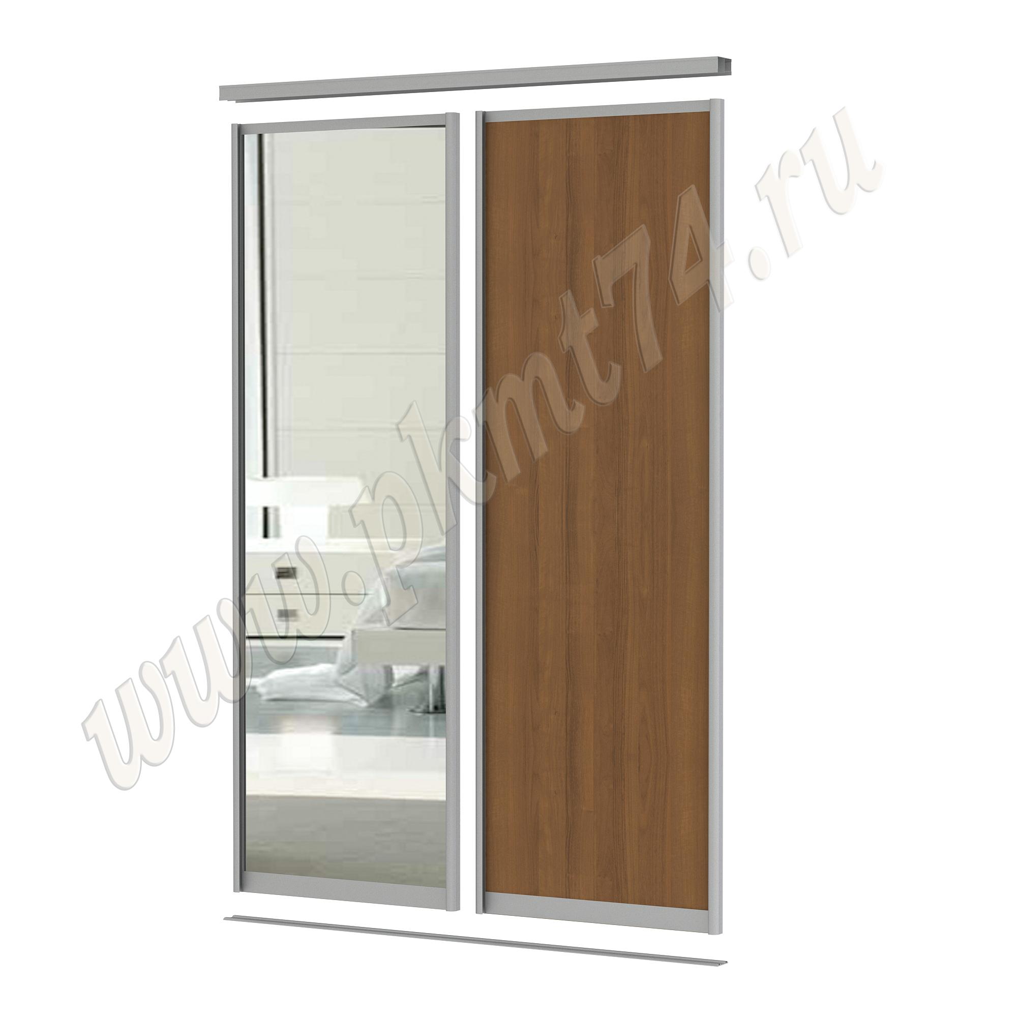 Комбинированные двери для шкафа купе [Размер:: 1500х2500; Цвет ЛДСП:: Орех Экко]