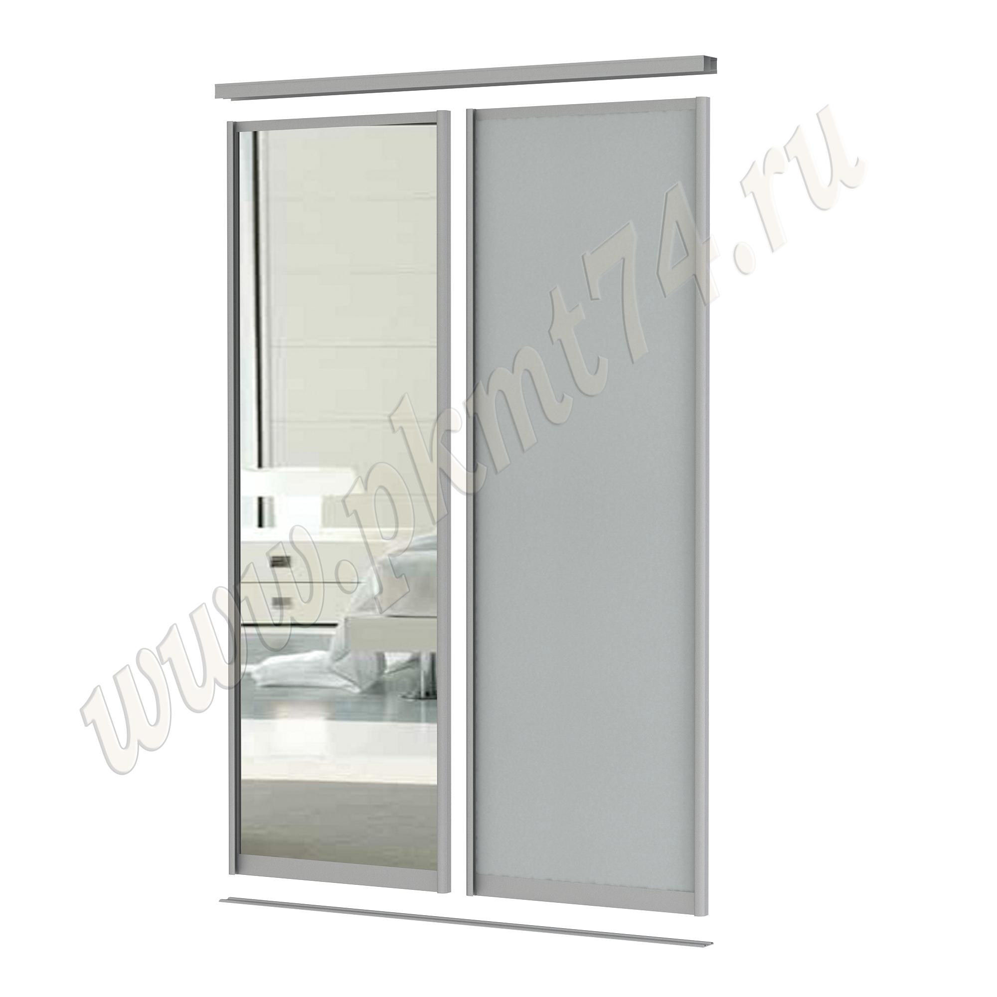 Комбинированные двери для шкафа купе [Размер:: 1500х2500; Цвет ЛДСП:: Серый]
