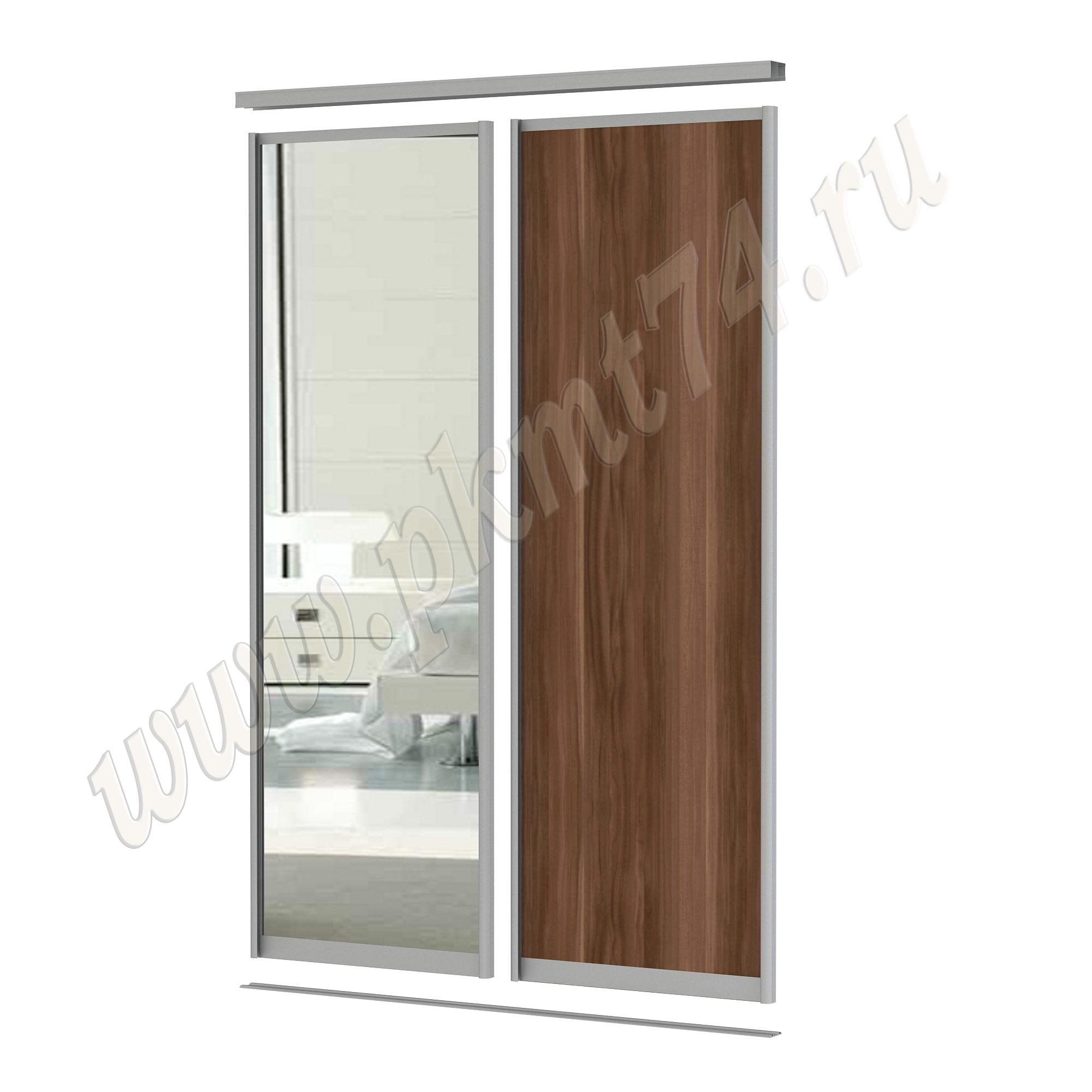 Комбинированные двери для шкафа купе [Размер:: 1700х2500; Цвет ЛДСП:: Слива Валлис]