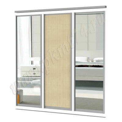 Комплект из двух зеркальных дверей и одной ЛДСП МТ 101-6 Клён