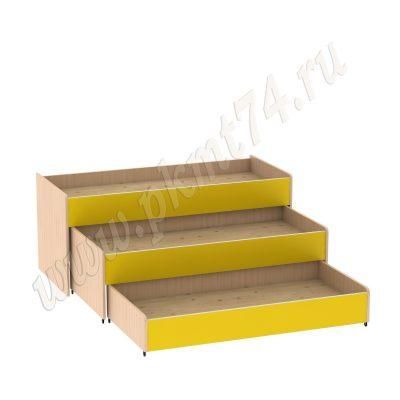 Кровать трехъярусная МТ 17-33 ДубМол+Жёл