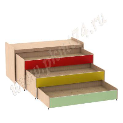 Кровать тумбовая МТ 17-34 ДубМол-Салатовый-Желтый-Красный