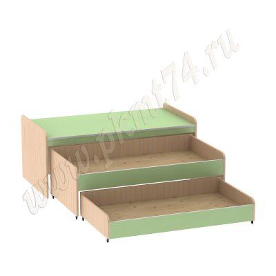 Кровать тумбовая с двумя ярусами МТ 17-110 ДубМол+Зел