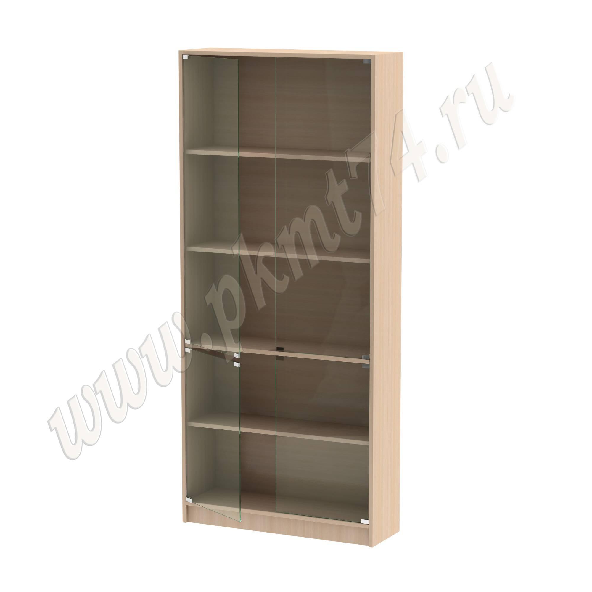 Шкаф витринный со стеклянными дверцами [Цвет ЛДСП:: дуб Молочный]