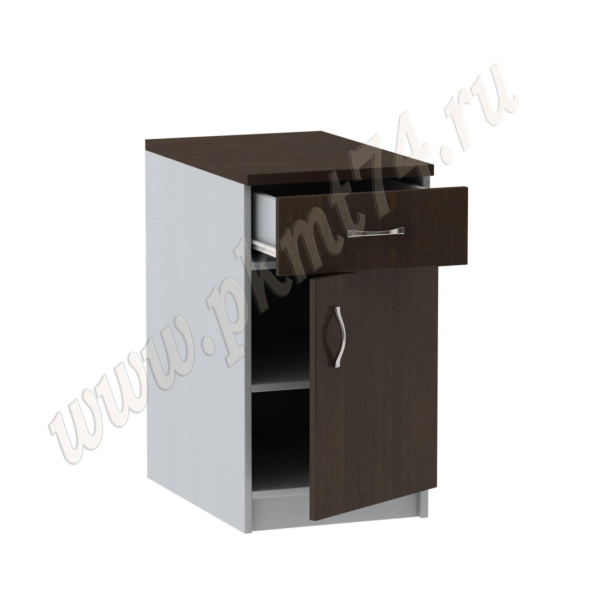 Тумба стационарная офисная с ящиком [Стандартный цвет:: Орех; Цвета ЛДСП на выбор:: Алюминий-Венге]