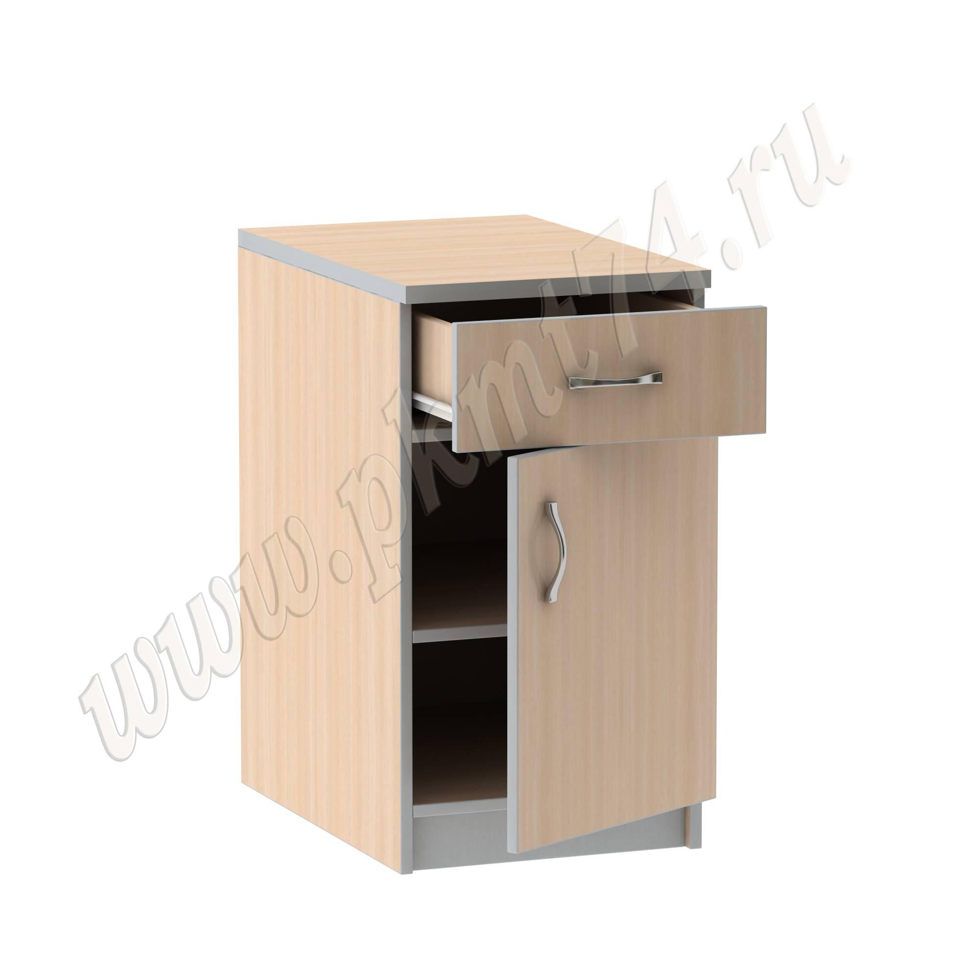 Тумба стационарная офисная с ящиком [Стандартный цвет:: Орех; Цвета ЛДСП на выбор:: Молочный-Алюминий]
