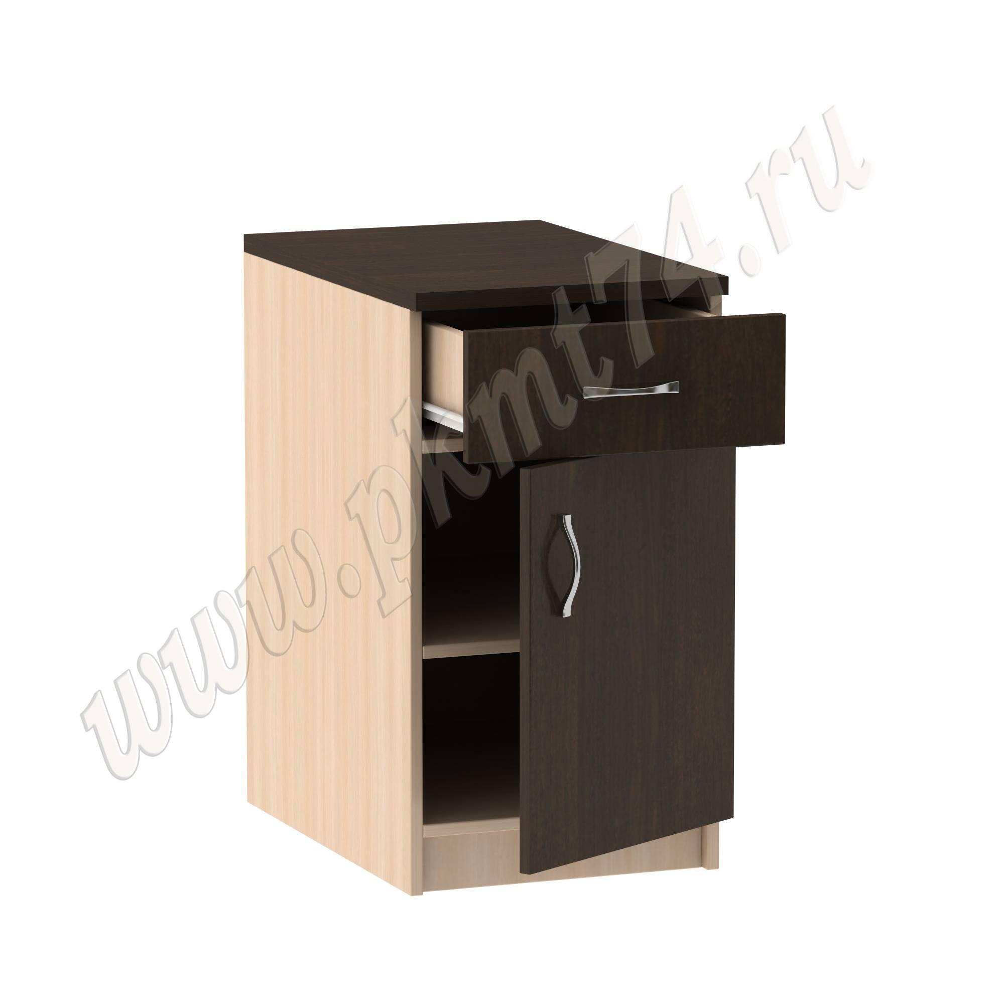 Тумба стационарная офисная с ящиком [Стандартный цвет:: Орех; Цвета ЛДСП на выбор:: Молочный-Венге]