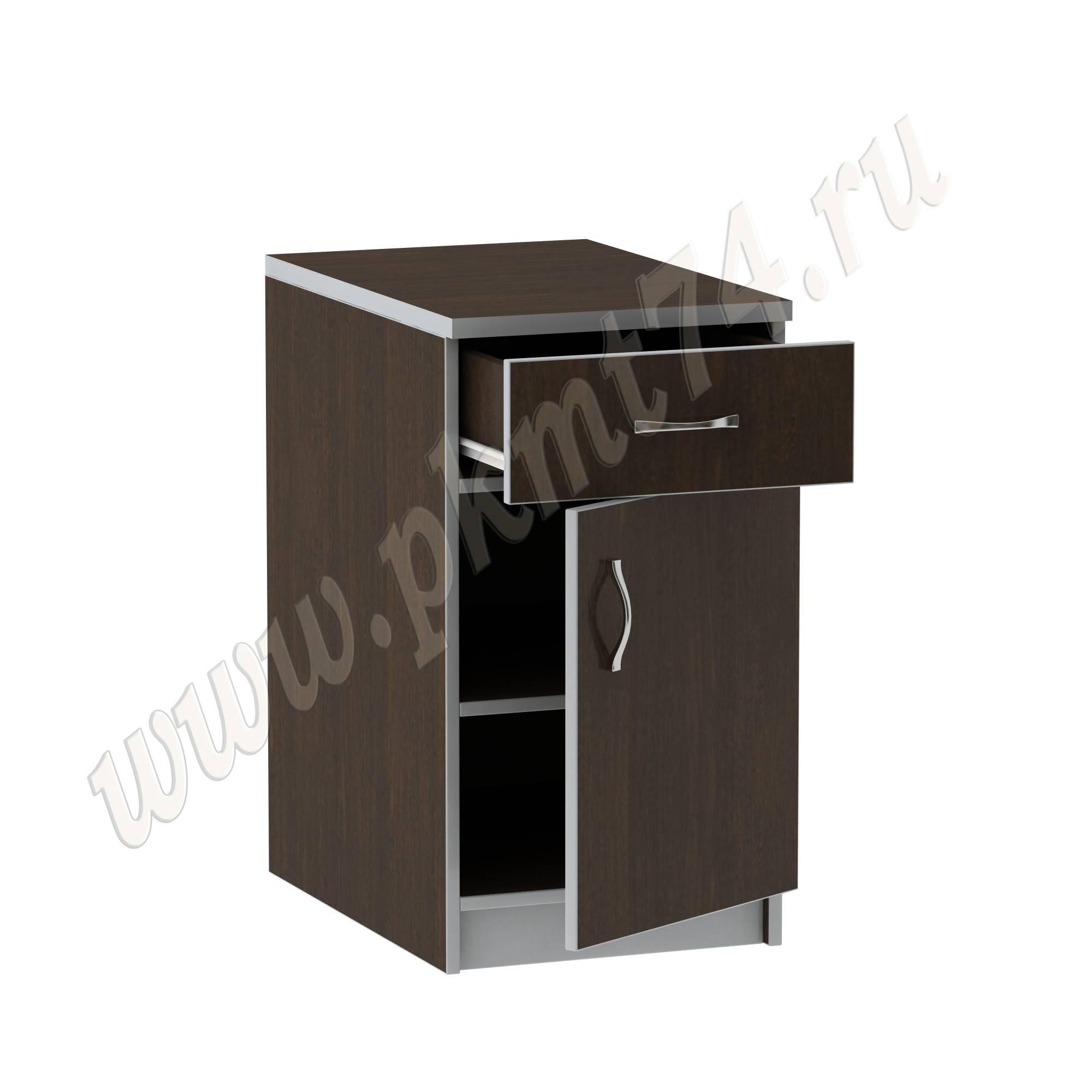 Тумба стационарная офисная с ящиком [Стандартный цвет:: Орех; Цвета ЛДСП на выбор:: Венге-Алюминий]