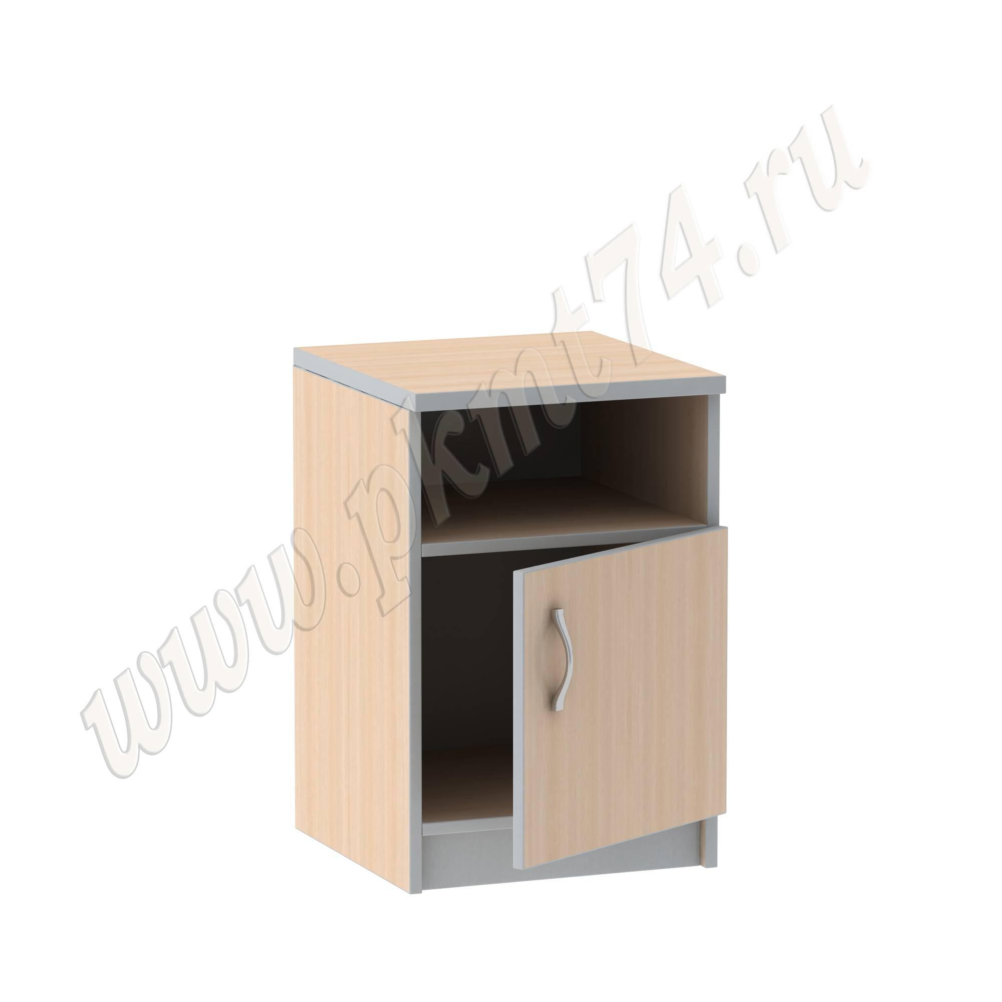 Тумба с нишей и дверкой для офиса [Стандартный цвет:: Орех; Цвета ЛДСП на выбор:: Молочный-Алюминий]