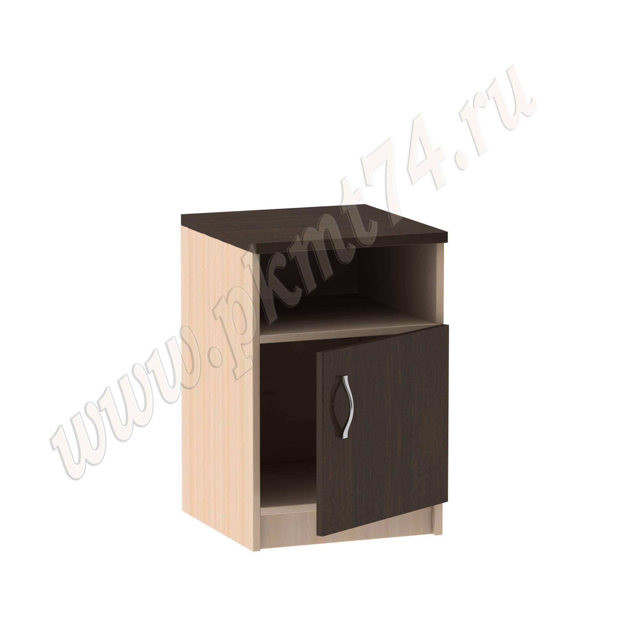 Тумба с нишей и дверкой для офиса [Стандартный цвет:: Орех; Цвета ЛДСП на выбор:: Молочный-Венге]
