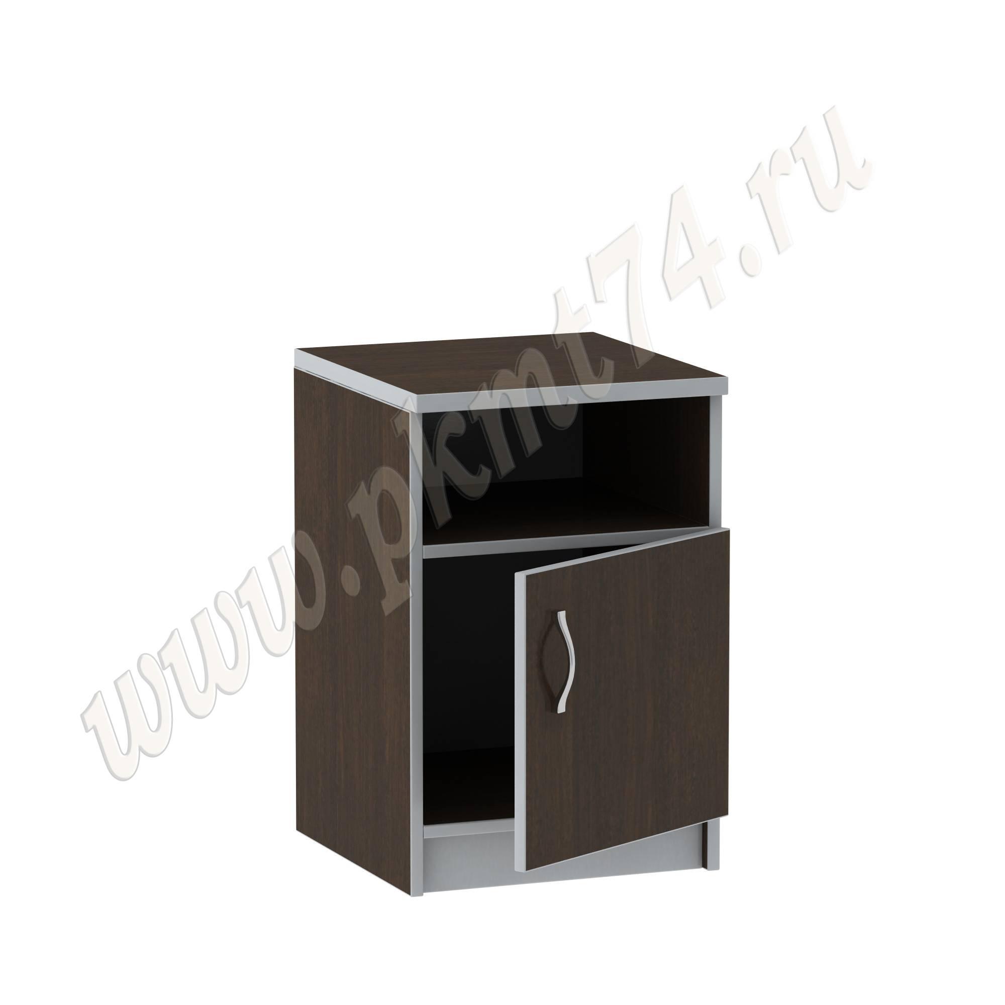 Тумба с нишей и дверкой для офиса [Стандартный цвет:: Орех; Цвета ЛДСП на выбор:: Венге-Алюминий]