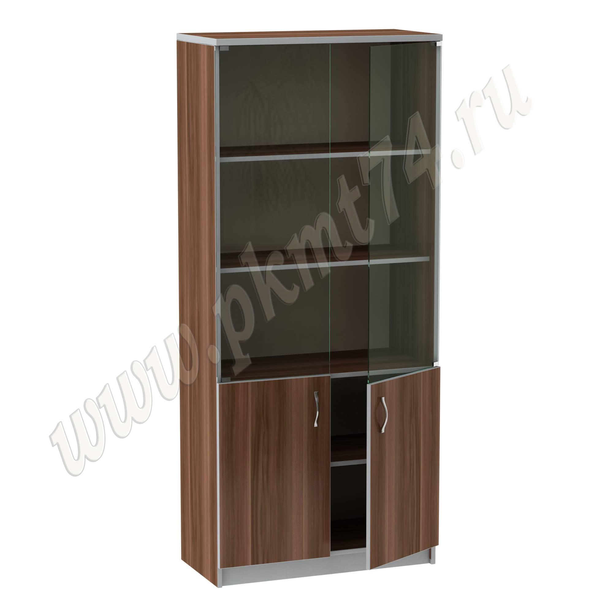 Шкаф для документов со стеклянными фасадами MT 14-4 Слива-Алюминий