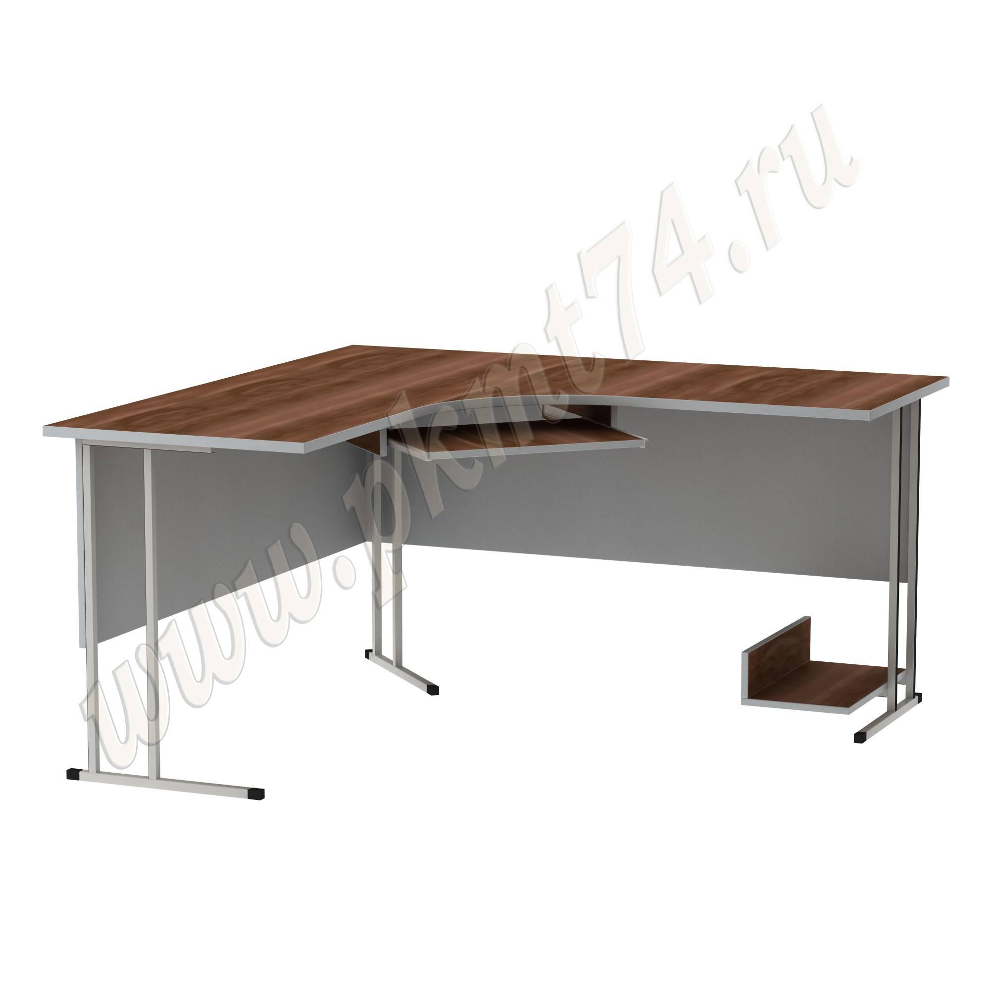 Стол угловой компьютерный на металлическом каркасе MT 07-10 Слива-Алюминий