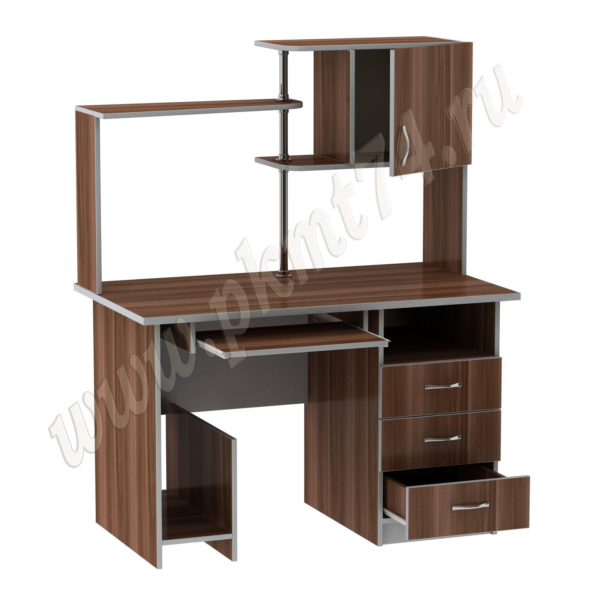 Стол компьютерный с полками [Цвета ЛДСП на выбор:: Слива-Алюминий]