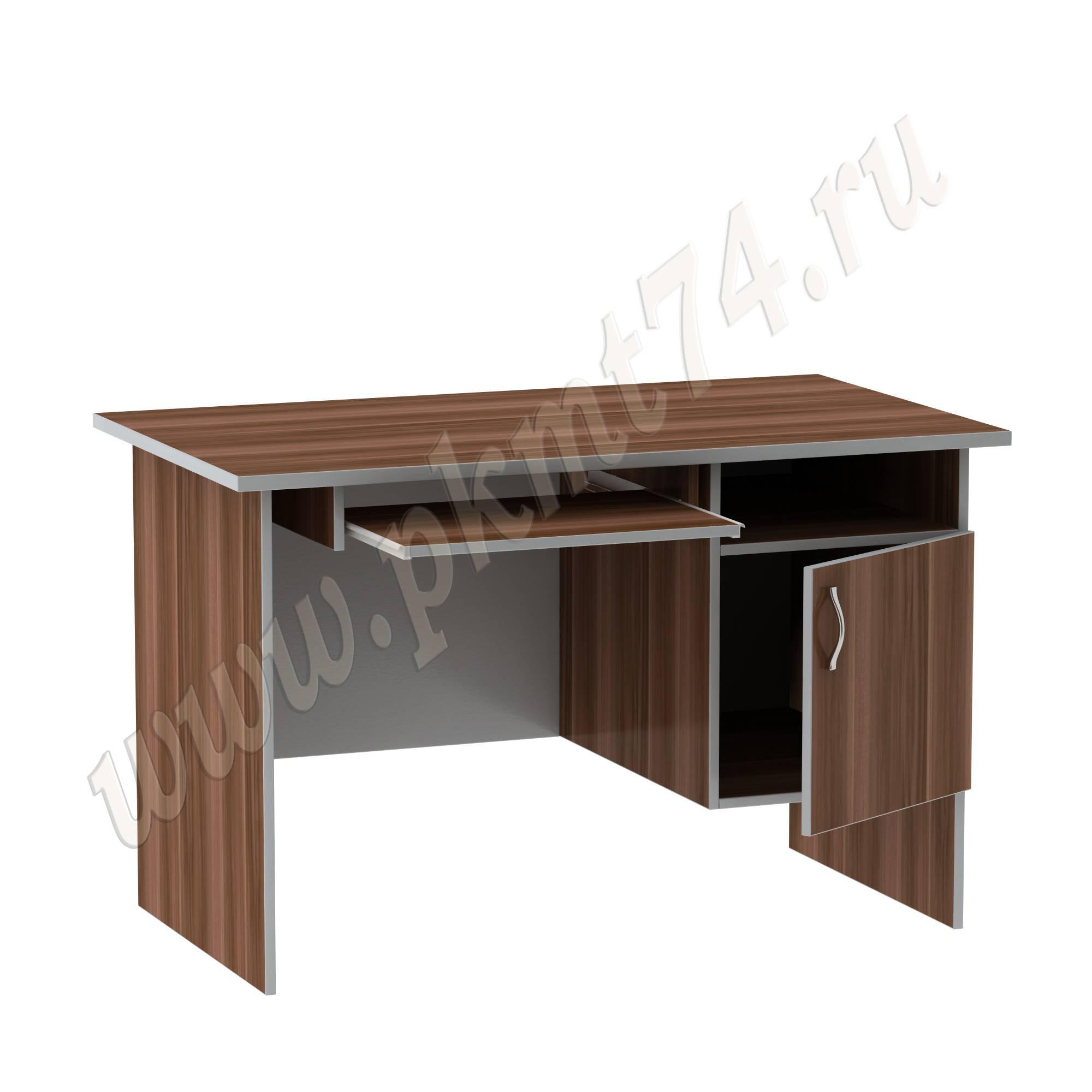 Стол компьютерный для офиса с тумбой MT 07-2 Слива-Алюминий