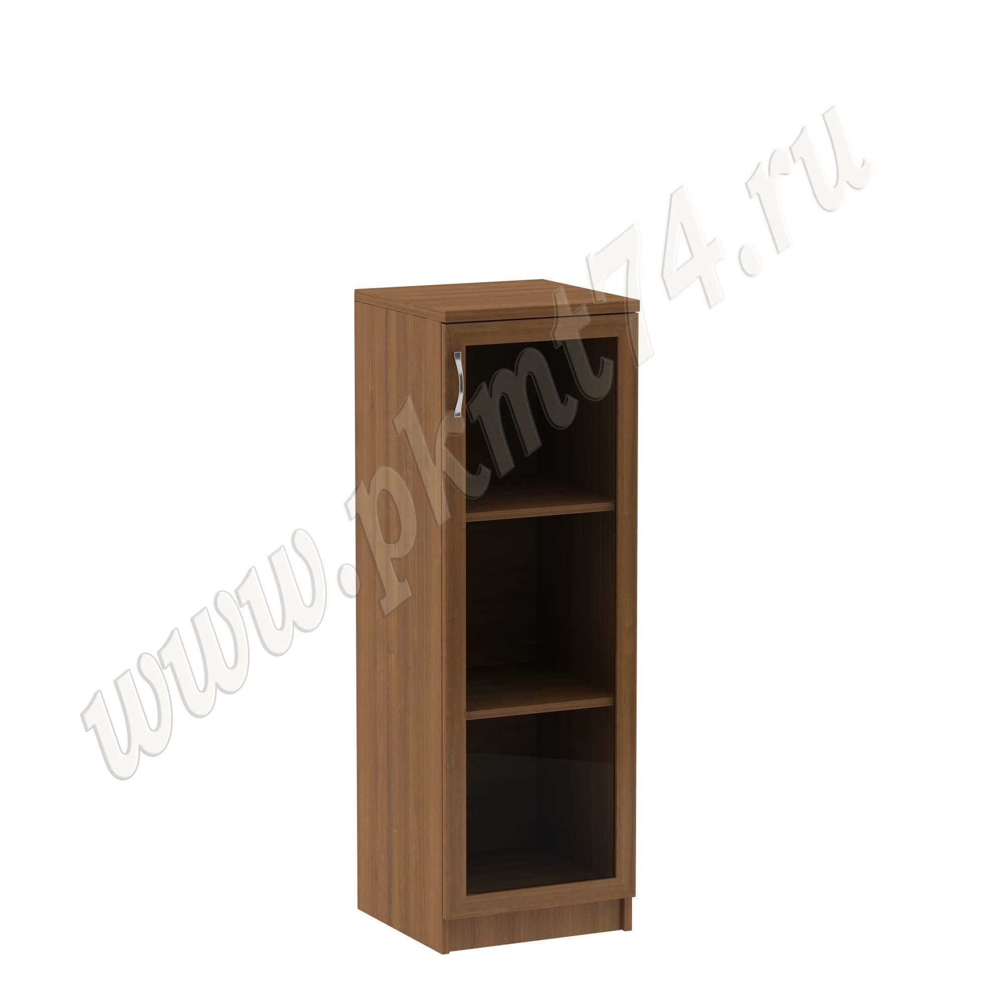 Пенал для офиса низкий с стеклянной дверкой МТ 13-7 Орех
