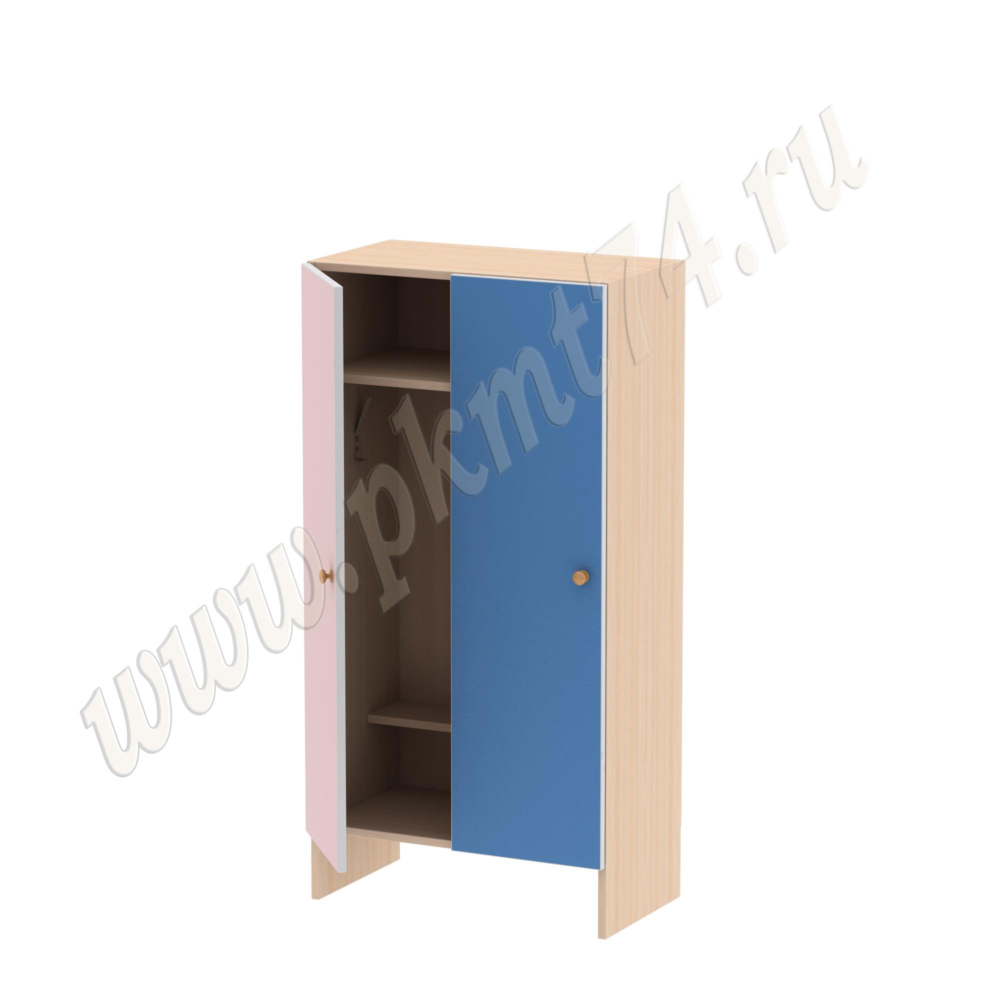 Шкаф детский двухместный без короба МТ 17-14 Дуб Молочный-Розово-Голубой