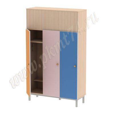 Шкаф детский трехсекционный МТ 17-78 ДубМол-Оранж-Ирис-Голубой