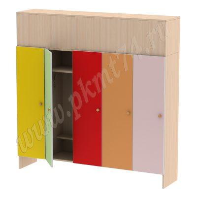 Шкаф для детей пятиместный МТ 17-18 ДубМол-Желт-Салат-Красн-Оранж-Ирис