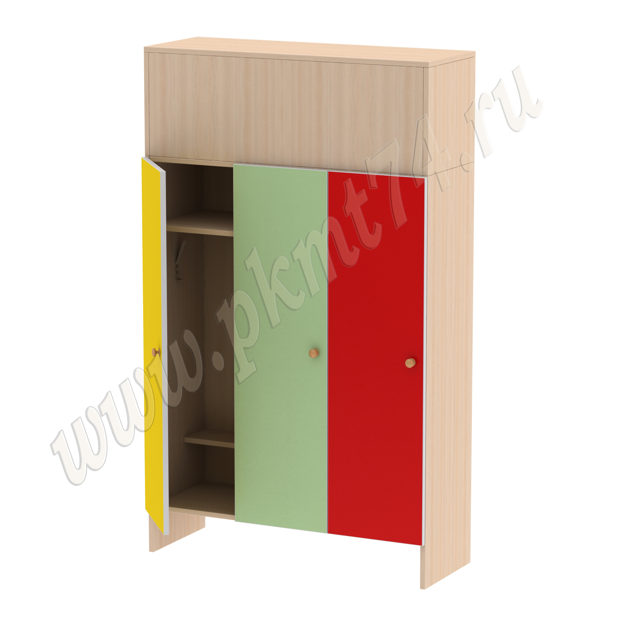 Шкаф для детей трехместный МТ 17-15 ДубМол-Жел-Салат-Красн