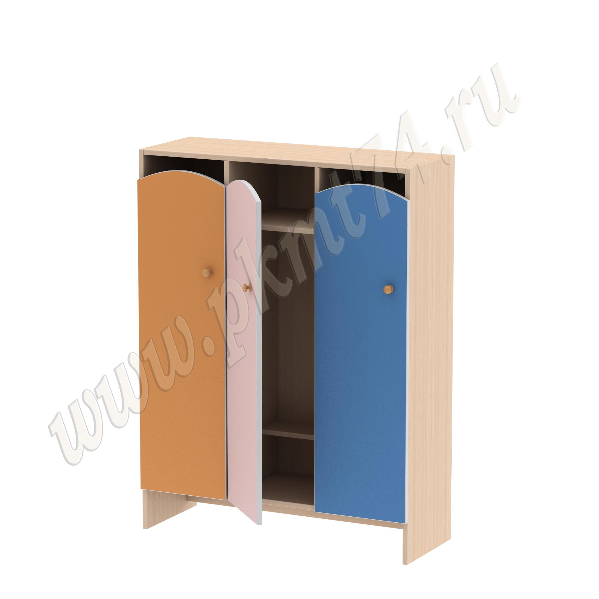 Шкаф для детской одежды Волна 3 без короба МТ 17-97 ДубМолочный-Оранж-Роз-Син-1