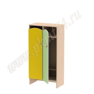 Шкаф для детской одежды без короба МТ 17-98 Дуб Молочный-Жел-Салатовый