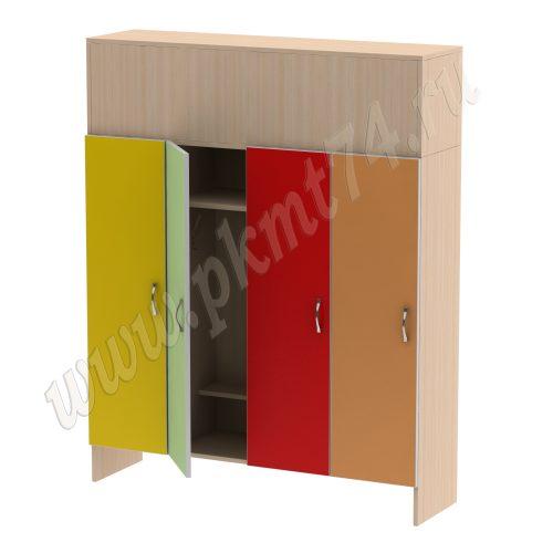 Шкаф для детской одежды на четыре отделения MT 17-92 Дуб мол.-Желтый-Зеленый-Красный-Оранжевый