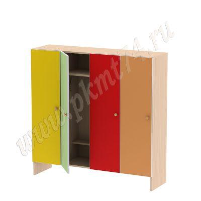 Шкаф для детской одежды на четыре отделения без короба МТ 17-92 ДубМолочный-Жел-Зел-Кр-Оранж