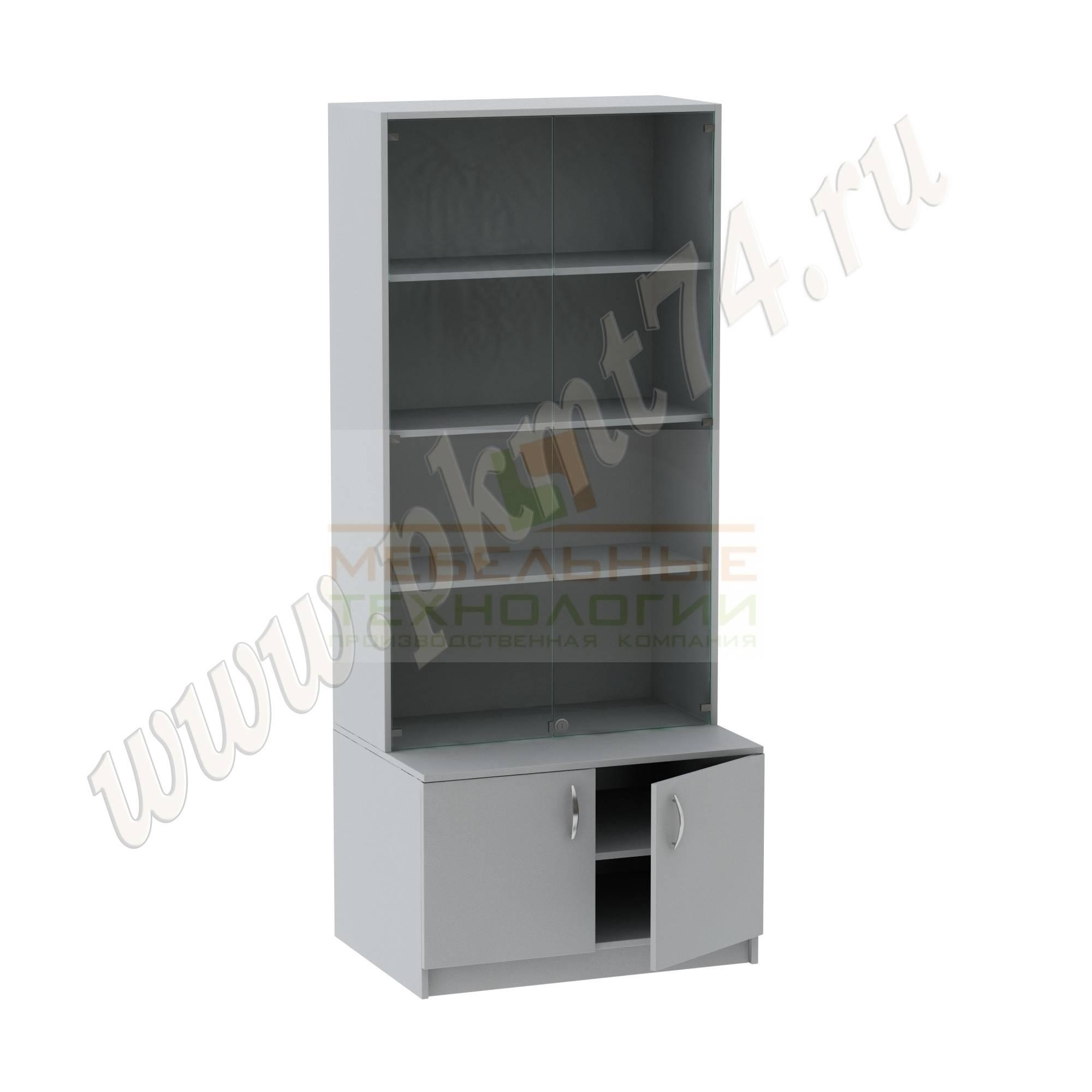 Шкаф для экспозиций школьного музея [Цвет ЛДСП:: Серый]