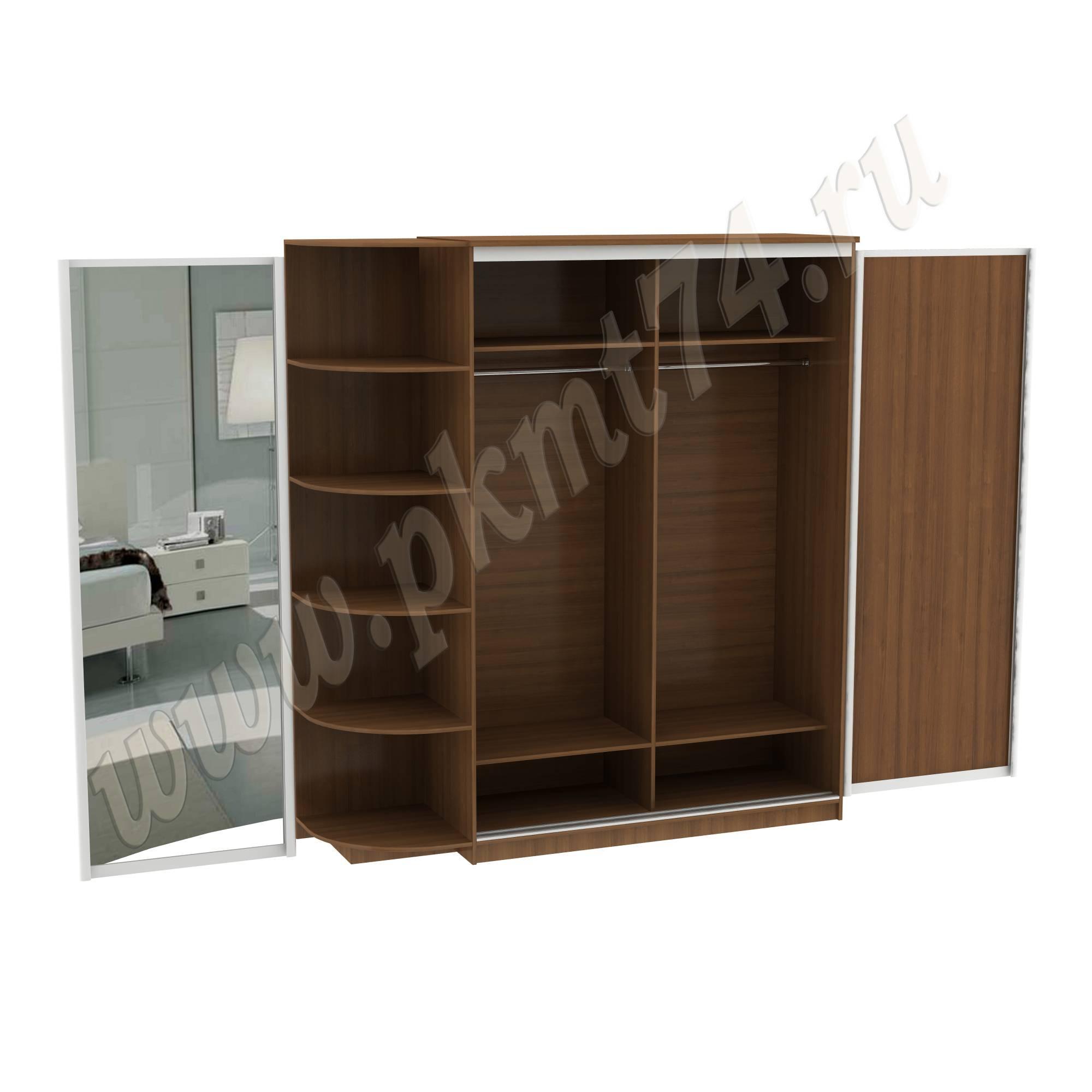 Шкаф купе эконом с зеркалом и угловыми полочками 15-8