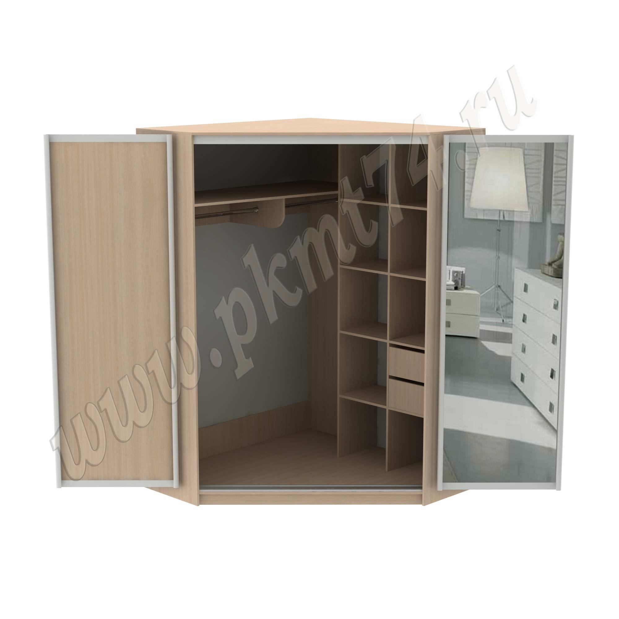 Угловой шкаф купе с зеркалом МТ 15-21 ДубМол