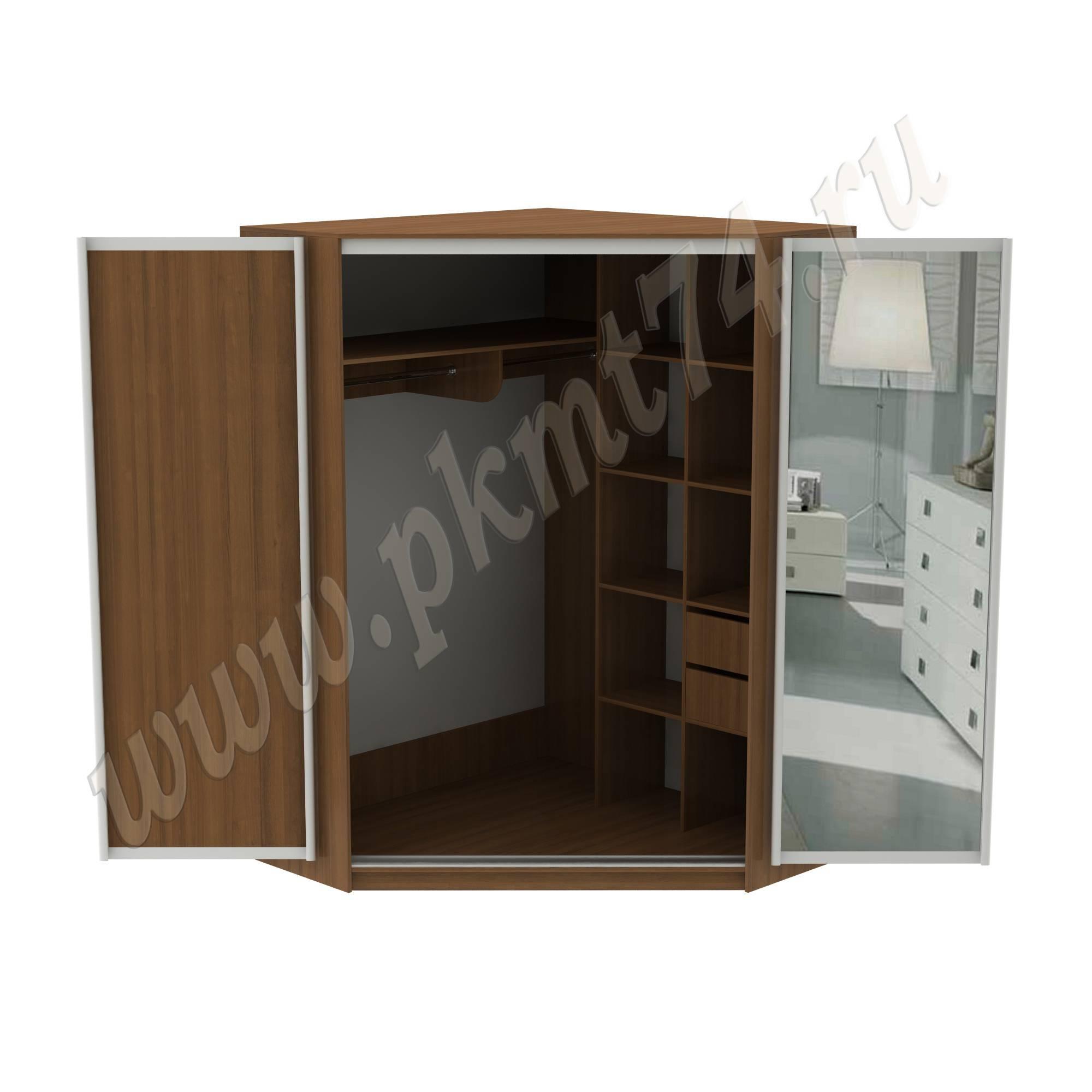 Угловой шкаф купе с зеркалом МТ 15-21 Орех