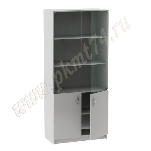 Шкаф со стеклом для кабинета врача МТ 14-4 Серый