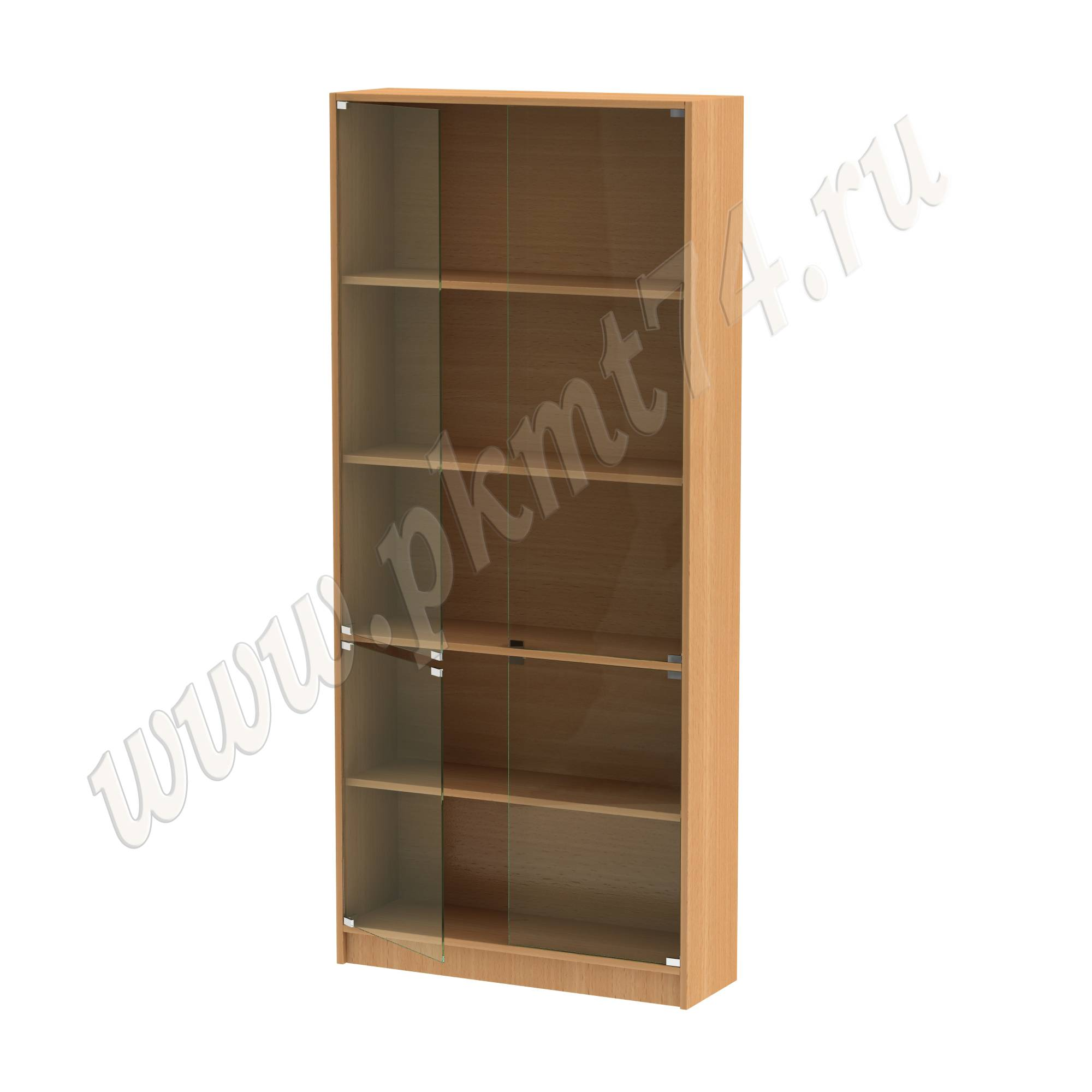 Шкаф витринный со стеклянными дверцами [Цвет ЛДСП:: бук Бавария светлый]