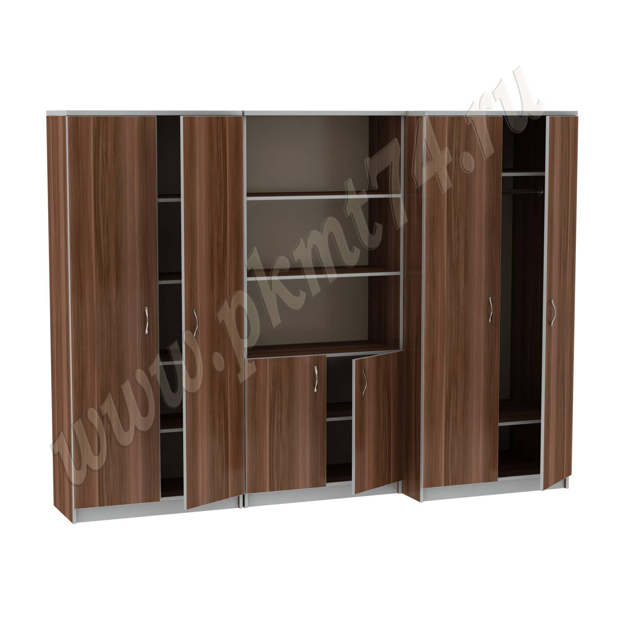 Секция из трех шкафов для офиса 14-34-1 Офис Слива-Алюминий