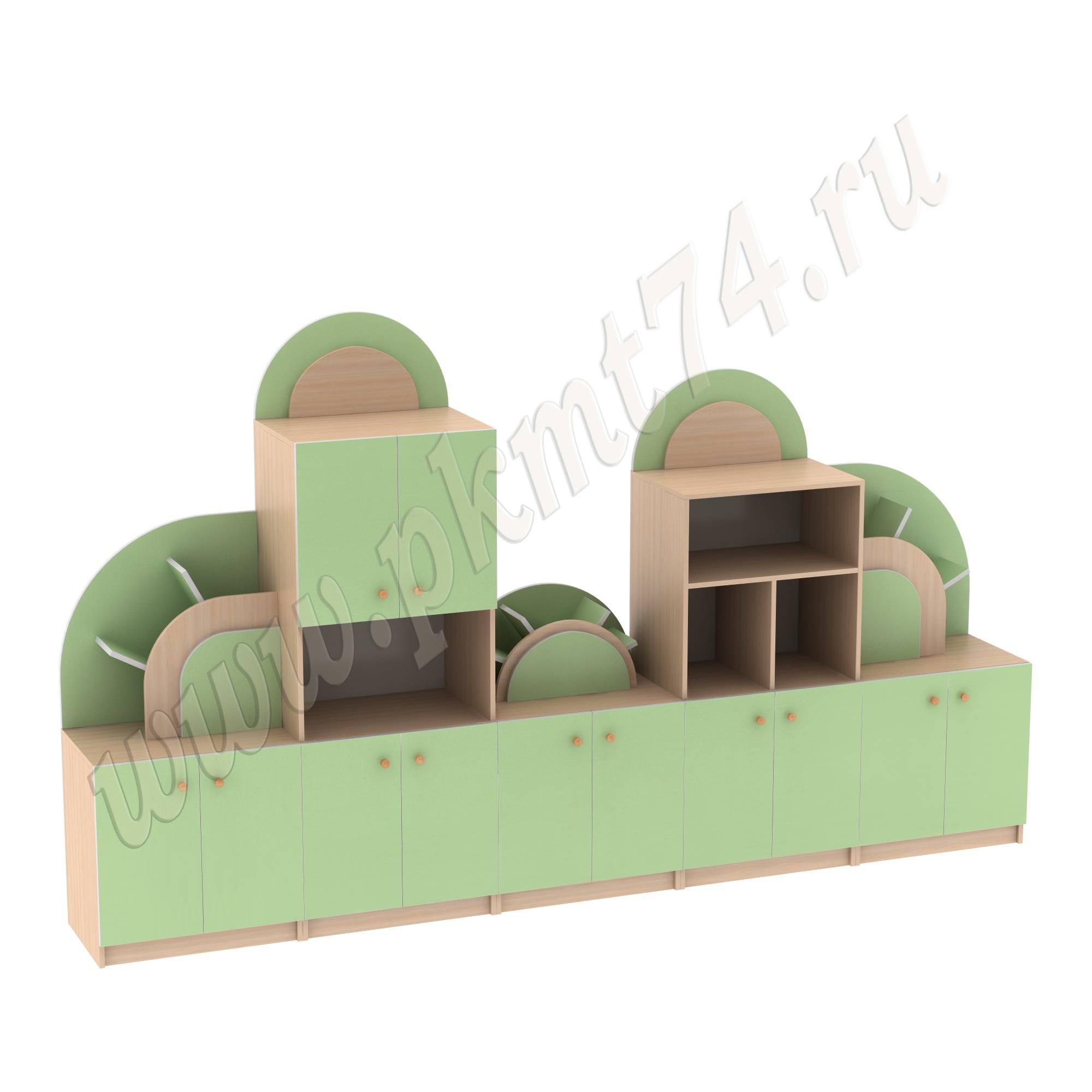 Стенка для игрушек Радуга МТ 17-64 ДубМол+Зел