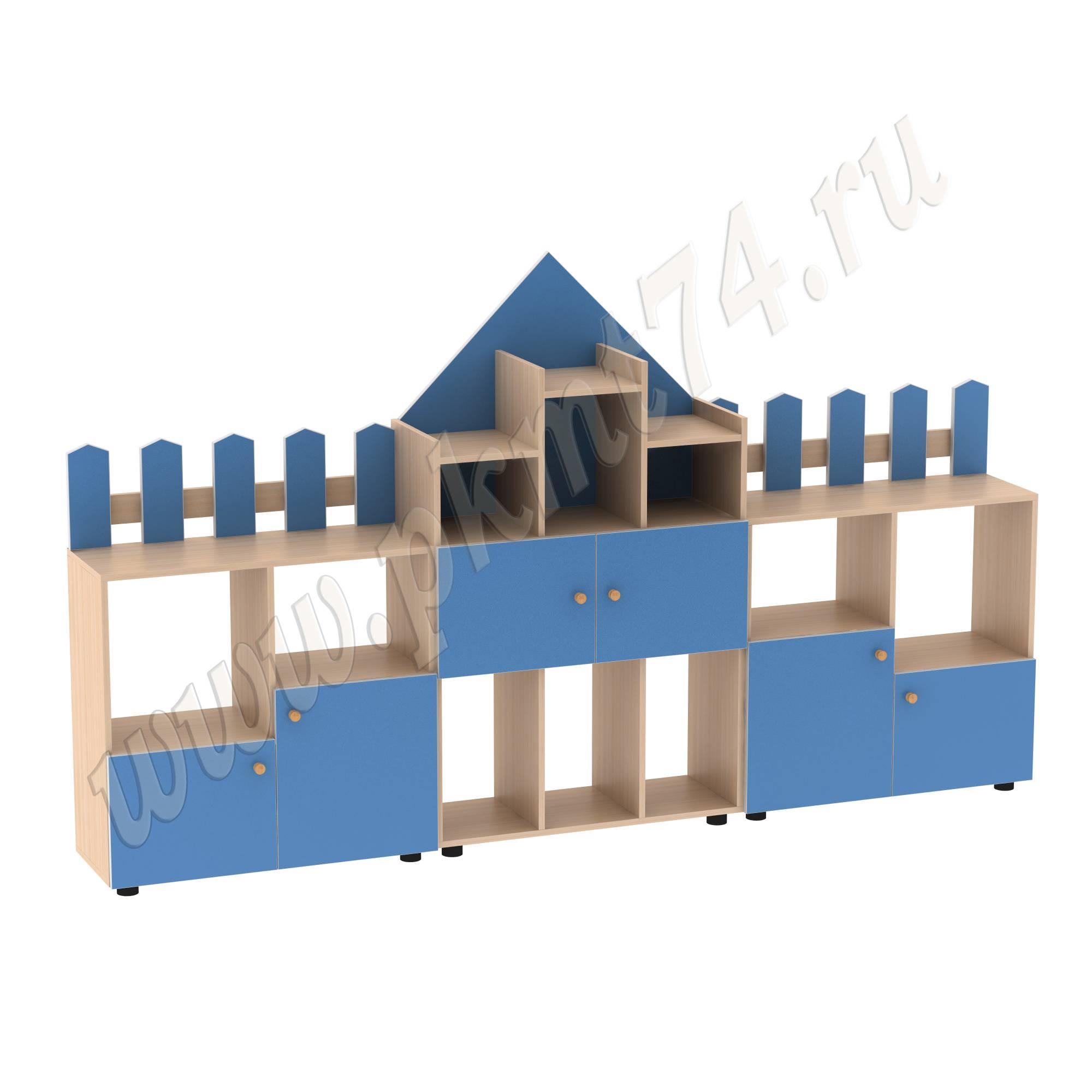 Стенка модульная для игрушек Рыцарский замок МТ 17-61 ДубМол+Син