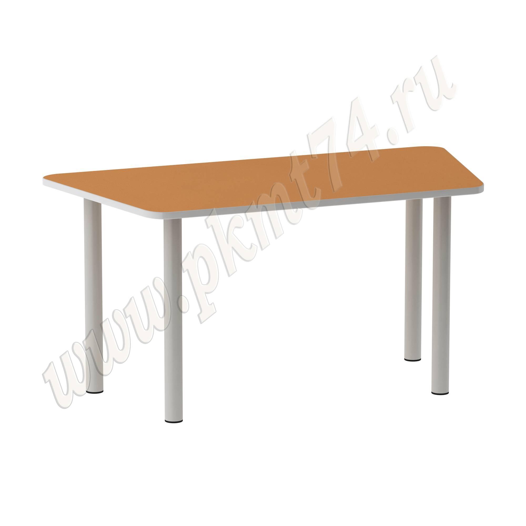 Стол на опорах из круглой трубы Трапеция [Цвет на выбор:: Оранжевый (Манго)]