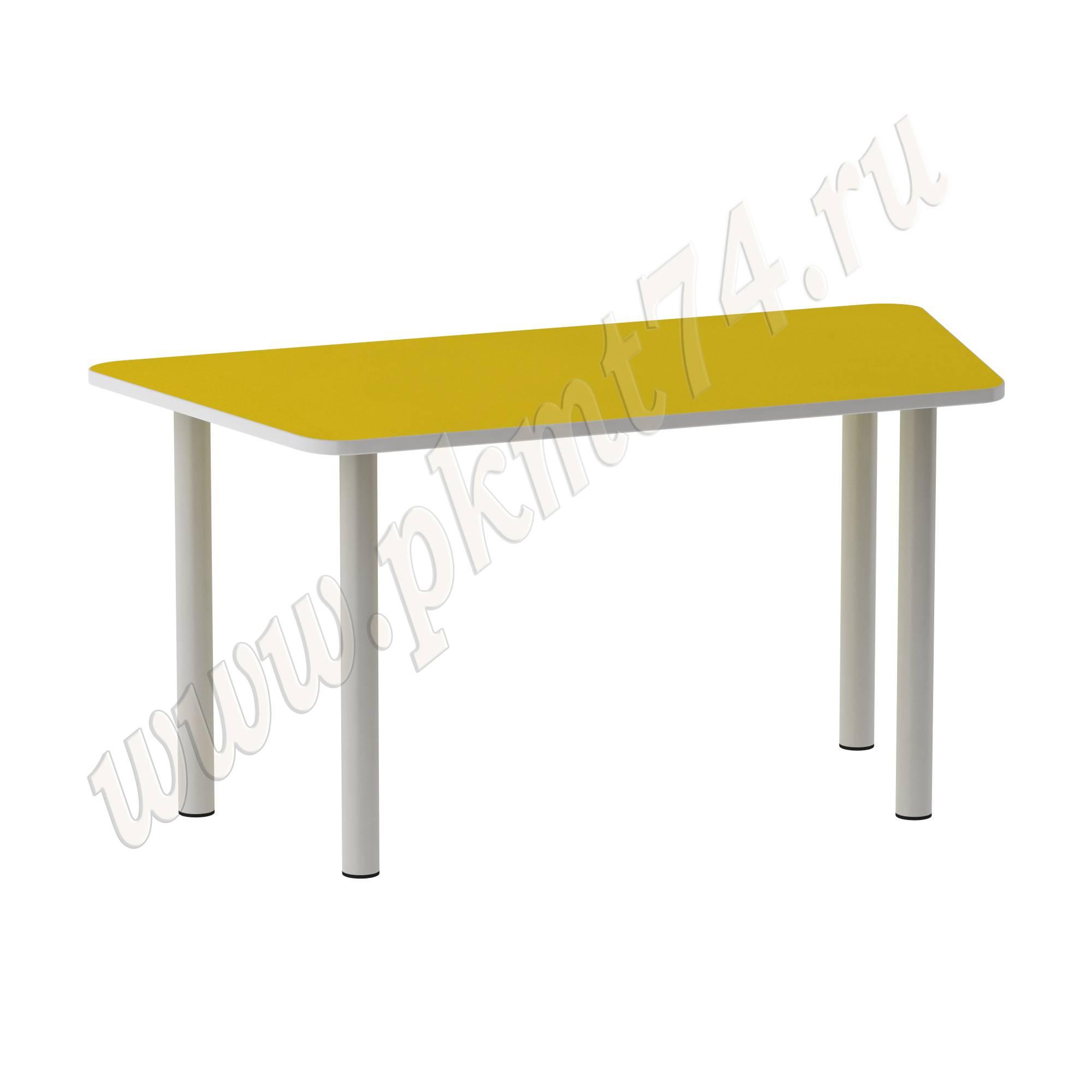 Стол на опорах из круглой трубы Трапеция [Цвет на выбор:: Желтый]