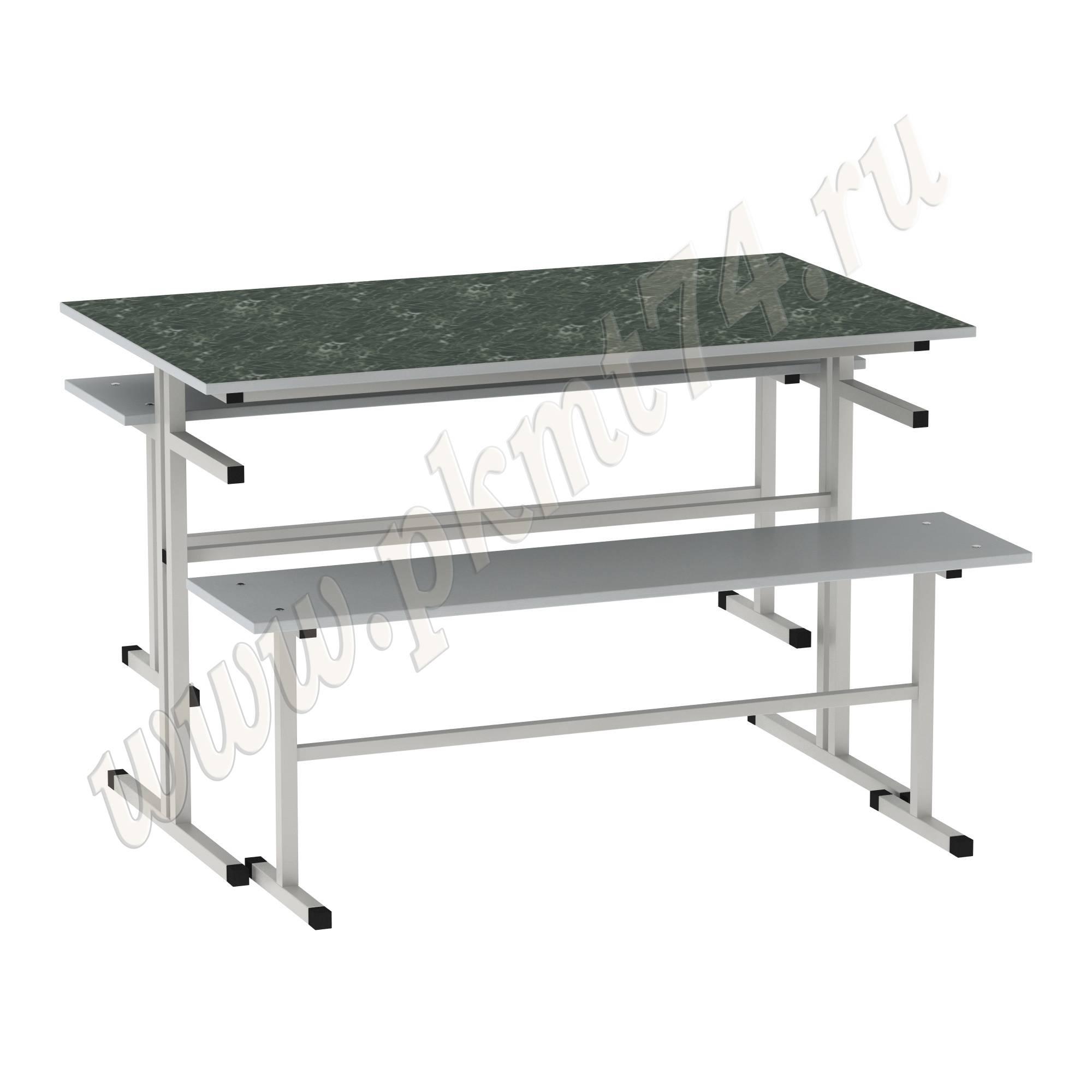 Стол обеденный с лавочками [Цвет столешницы (СКИФ):: Мрамор зеленый (27)]