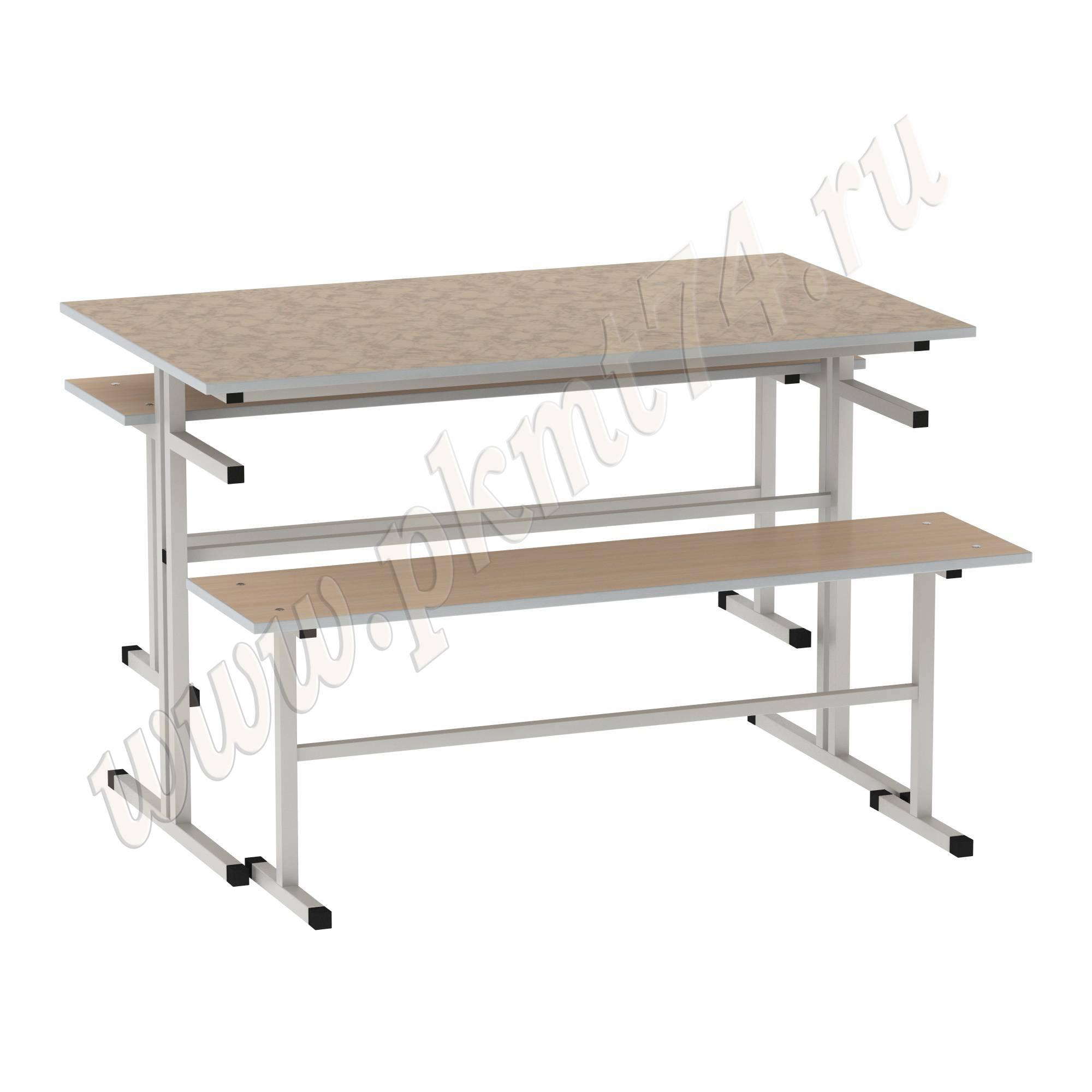 Стол обеденный с лавочками [Цвет столешницы (СКИФ):: Мрамор Розовый (34)]