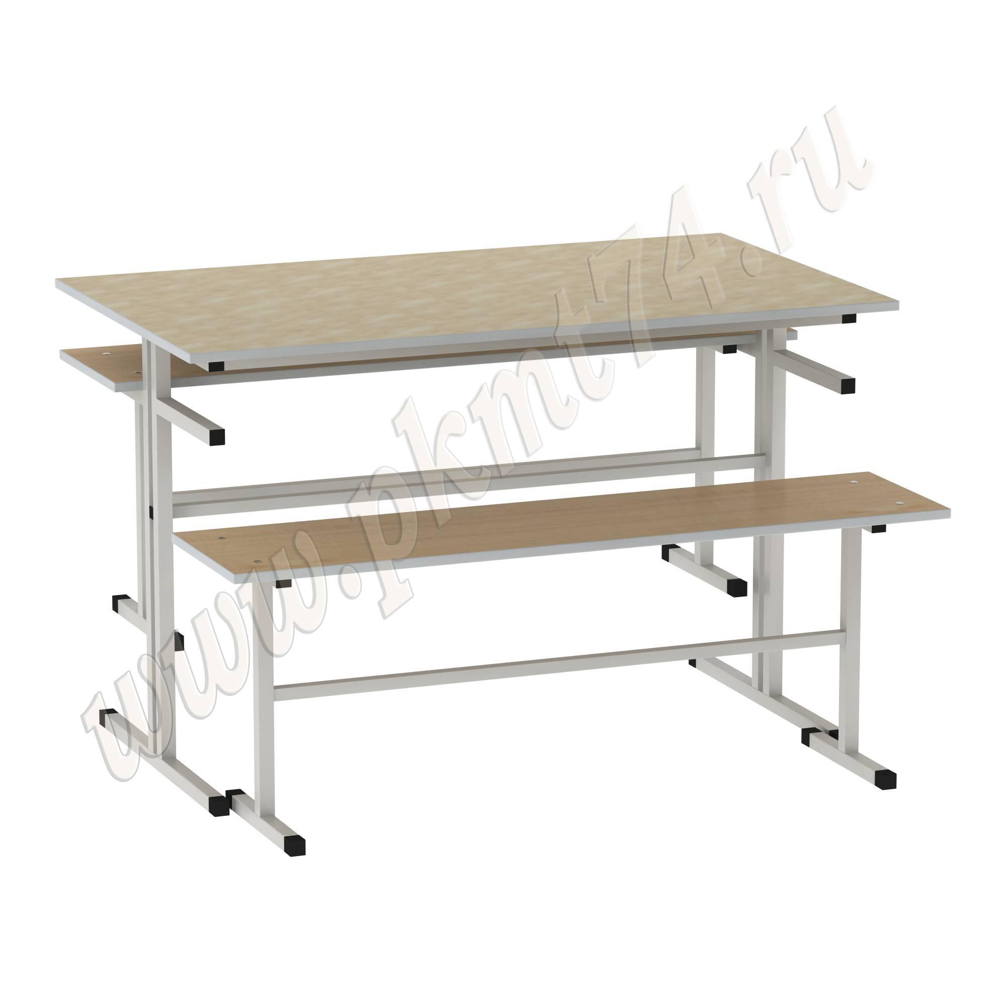 Стол обеденный с лавочками [Цвет столешницы (СКИФ):: Оникс, мрамор бежевый (4)]