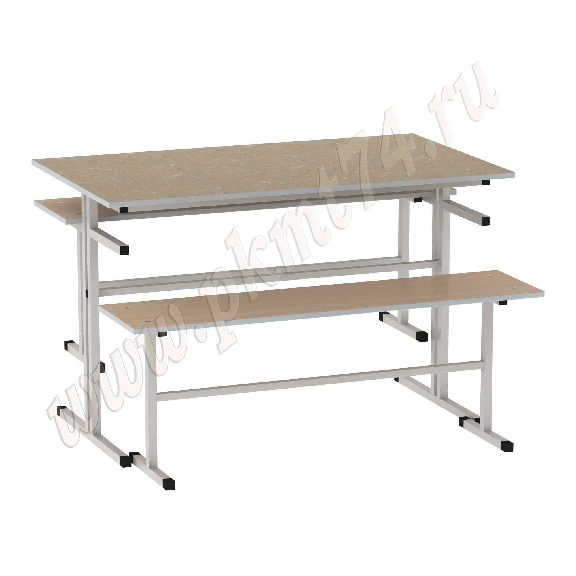 Стол обеденный с лавочками [Цвет столешницы (СКИФ):: Оникс Желтый (47)]