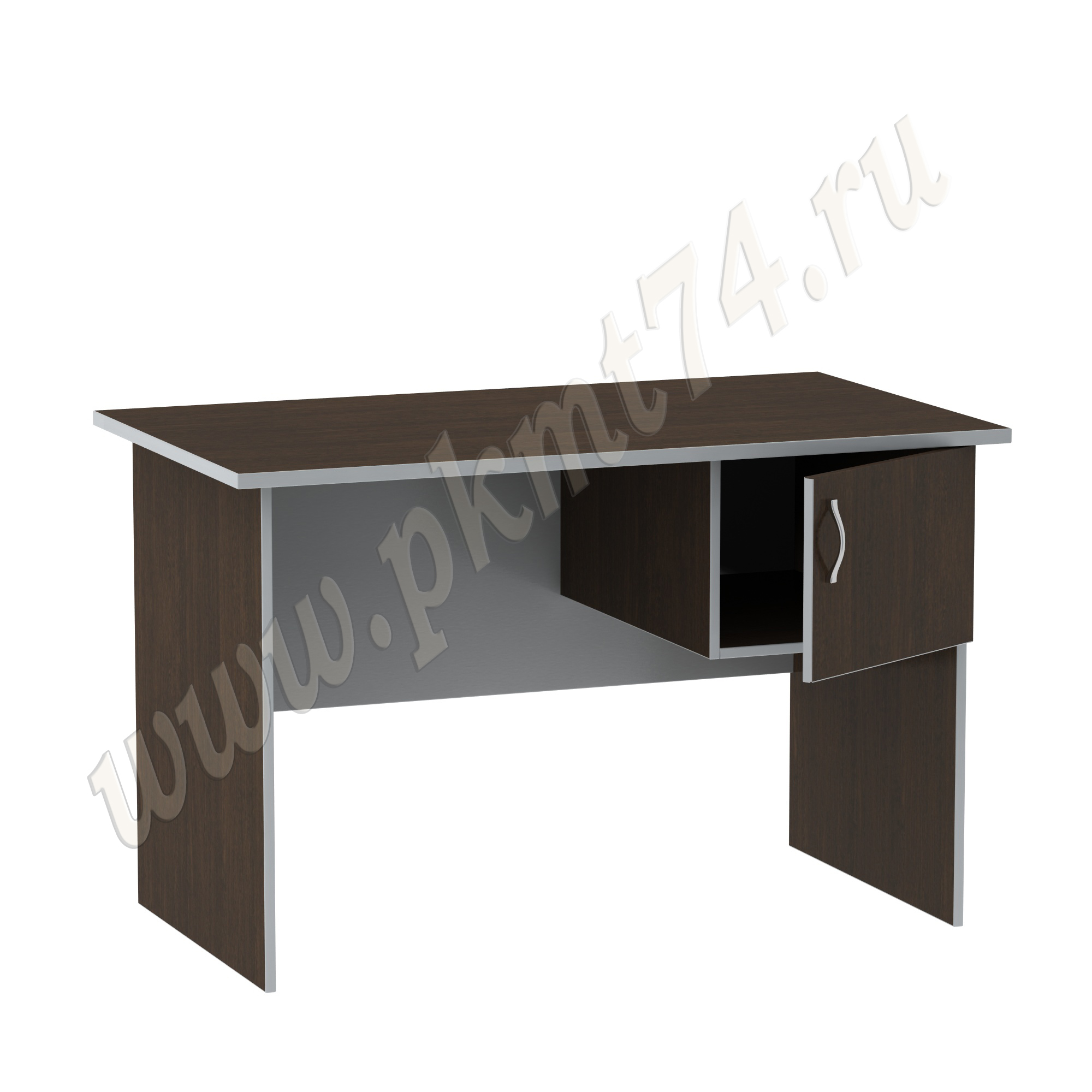 Стол офисный однотумбовый [Цвета ЛДСП на выбор:: Венге-Алюминий]