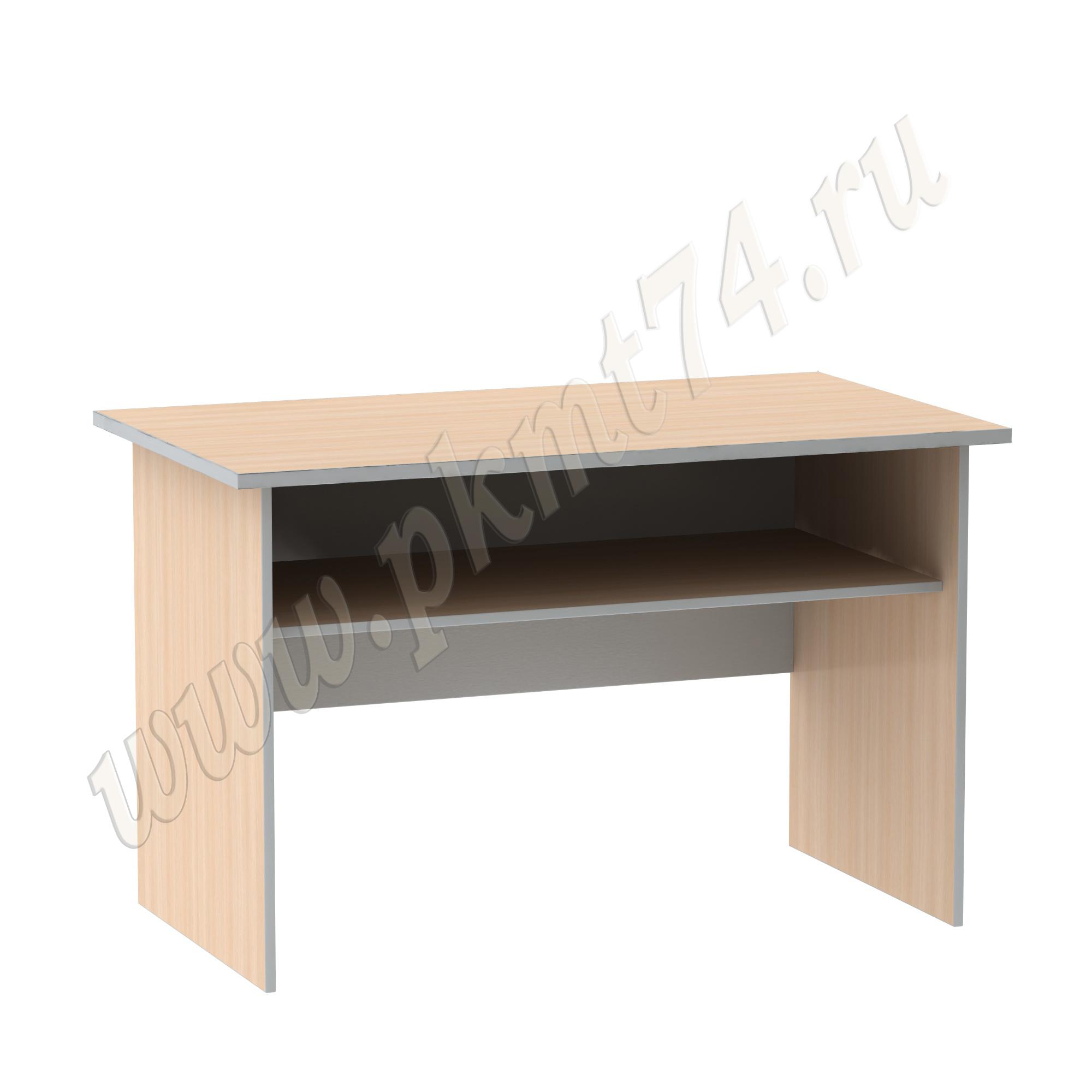 Стол письменный с полкой [Цвета ЛДСП на выбор:: Молочный-Алюминий]